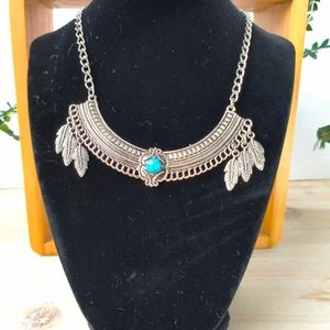 Boho Gypsy Turquoise & Silver Feather Necklace